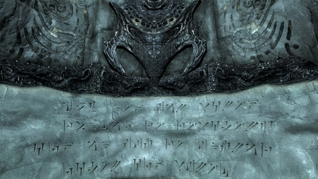 Skyrim gave us Dovazhul, the language of the Dragons, as written by foot-long claws.